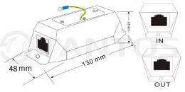 Одноканальное устройство грозозащиты Gigabit Ethernet и PoE (до 4КВ) TSn-GZ14PG
